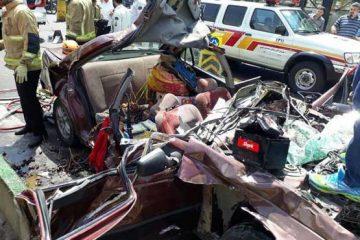 تصادف وحشتناک یک خودرو در اتوبان یاسینی تهران + عکس